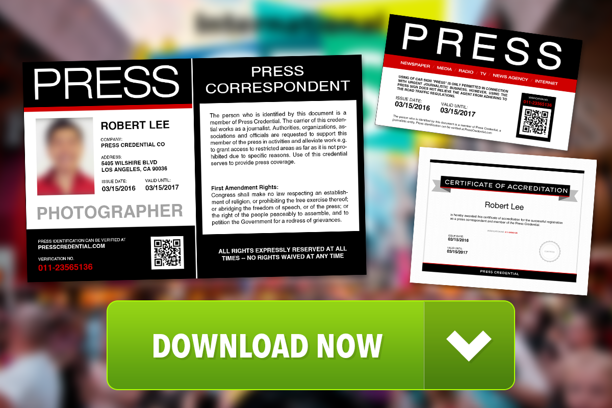 press credential offers free press pass template. Black Bedroom Furniture Sets. Home Design Ideas